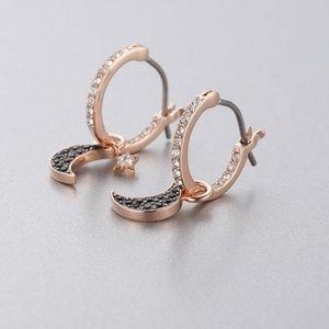 Swarovski Symbolic Moon Hoop Pierced Earrings
